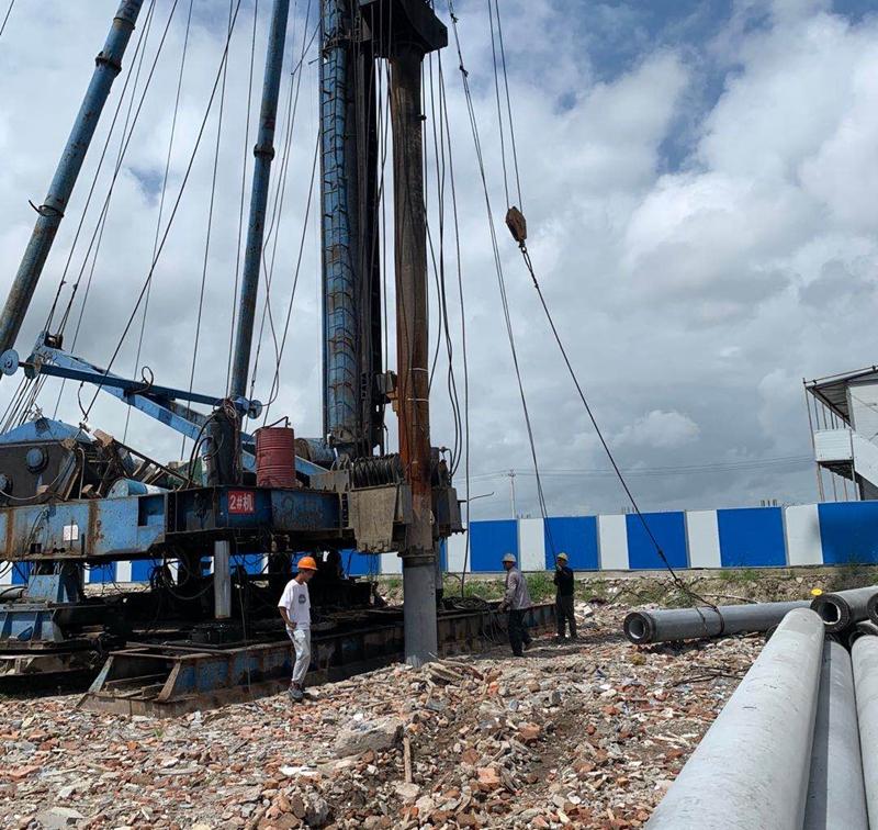 北仑表面处理中心废水站工程进行试桩作业